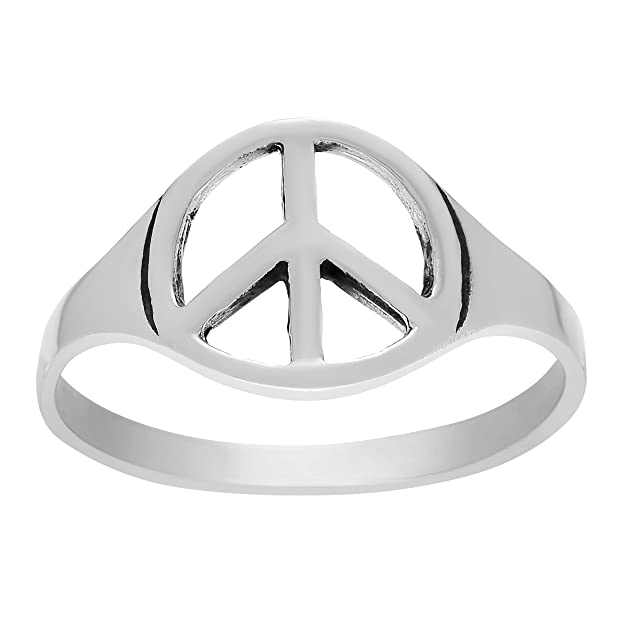 Amazon Brinley Co Sterling Silver Cut Out Peace Sign Ring