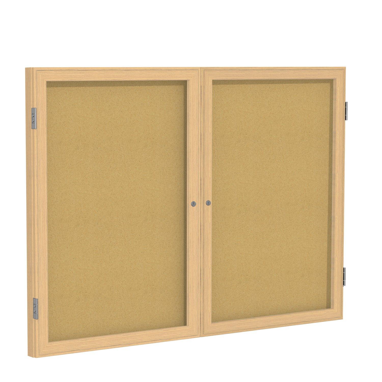 Case of 5, 36''x48'' 2-Dr Wood Frame Oak Finish Enclosed Bulletin Board - Natural Cork