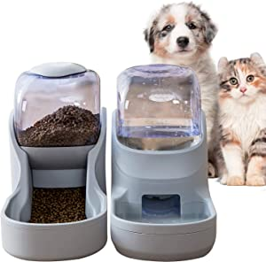 Pets Feeder Set Dog Feeder Cats Feeder with Water Dispenser Automatic Gravity Big Capacity Pets Feeder Auto for Small Medium Big Cats Dogs (Gray)