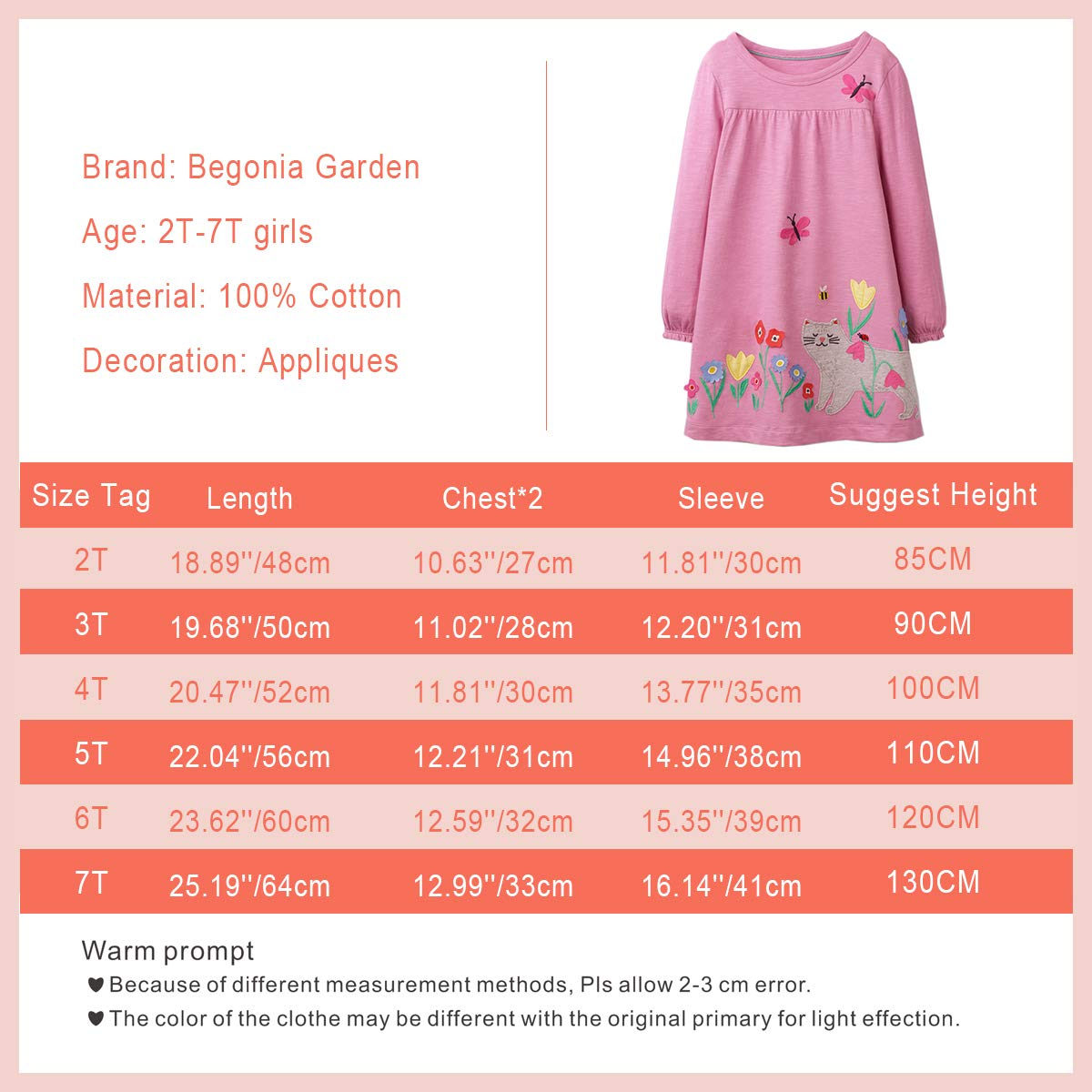 Unicorn Appliqued Girls Cotton Dress Casual Baby Girl Clothing