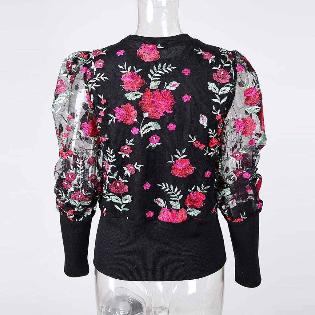 HOUMENGO Camisa Casual De Manga Larga De Cuello Redondo Blusa con Bordado Floral De Malla Transparente