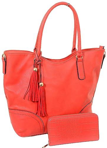 Amazon.com  Red Vegan Leather Fashion Tote Bag Purse w Matching Wallet   Shoes 27b297b2bff18