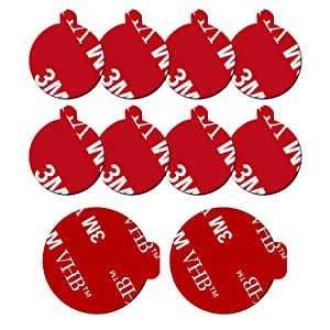 8 Pack 3M Sticky Adhesive Replacement Compatible with Socket Mount Base, VOLPORT VHB Sticker Pads for Car Magnetic Phone Holder and 2pcs Double Sided Tape for Collapsible Grip & Stand
