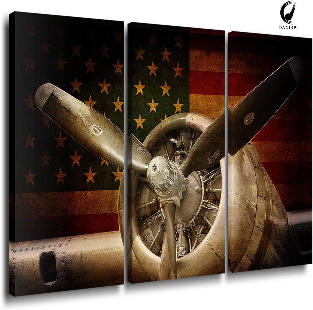 Vintage Airplane Wall Art Decor Rustic American Military Aircraft Canvas Prints Propeller Engine Modern Artwork Giclee Pictures Wood Frames for Living Room Office Home Decoration 16x32 inch x 3 Pieces