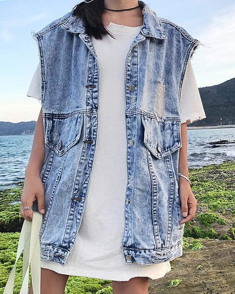 DianShaoA Gilet Jeans Donna Lunga Strappato Senza Maniche Giacche Jeans Tendenza Lavaggio Denim Giacche Giubotto Outwear