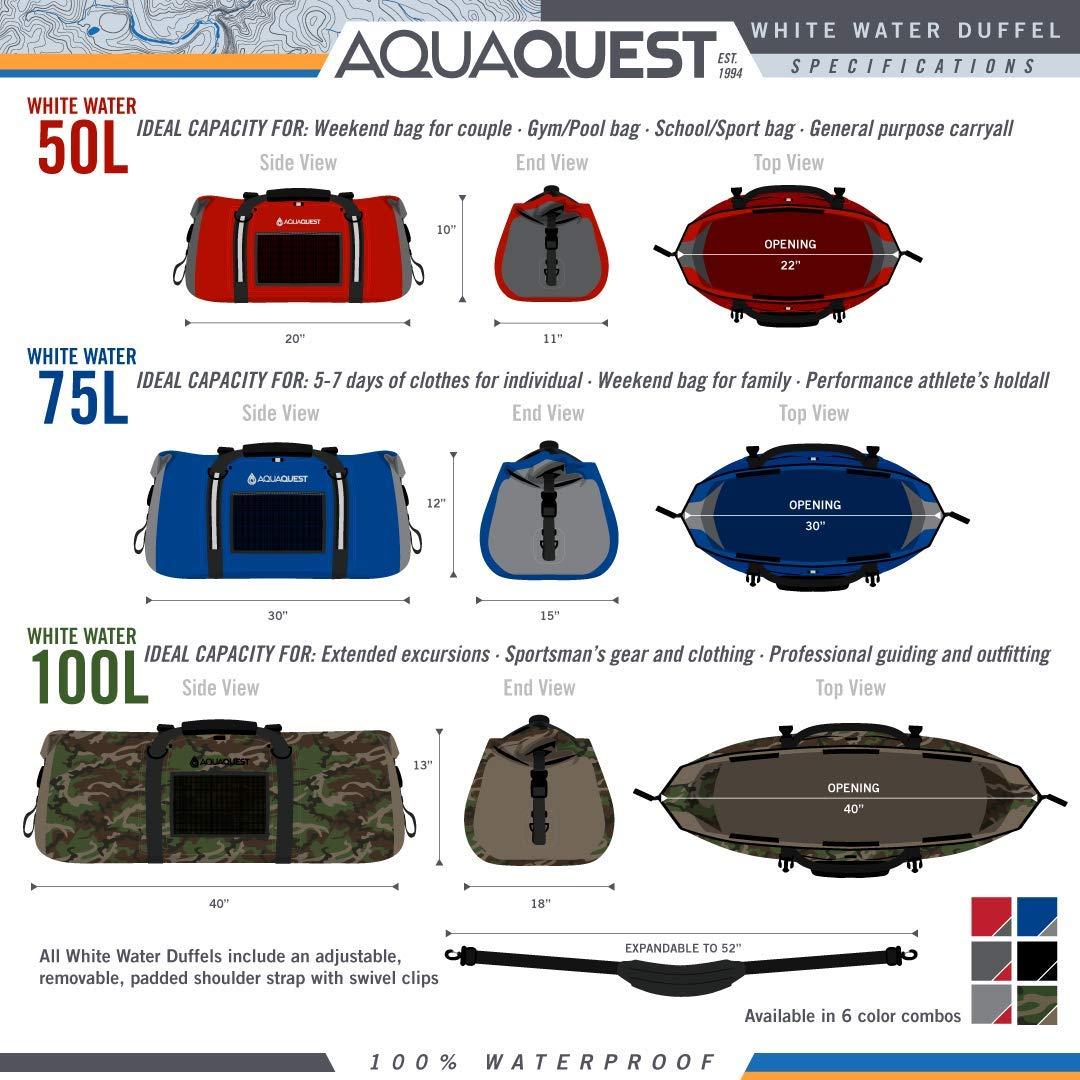 Aqua Quest White Water Duffel – 100 Waterproof Bag 50L, 75L 100L – Lightweight, Durable, External Pockets – Black, Charcoal, Red, Blue, Gray or Camo