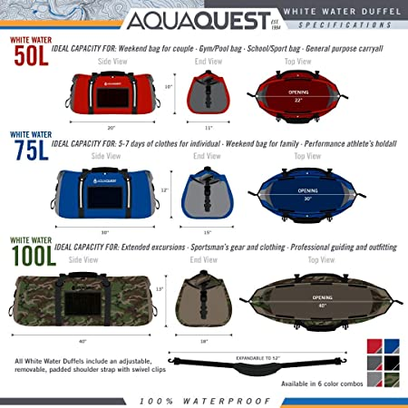 Aqua Quest White Water Duffel – 100 Waterproof 100 L Bag – Lightweight, Durable, External Pockets – Black, Charcoal, Red, Blue, Gray or Camo