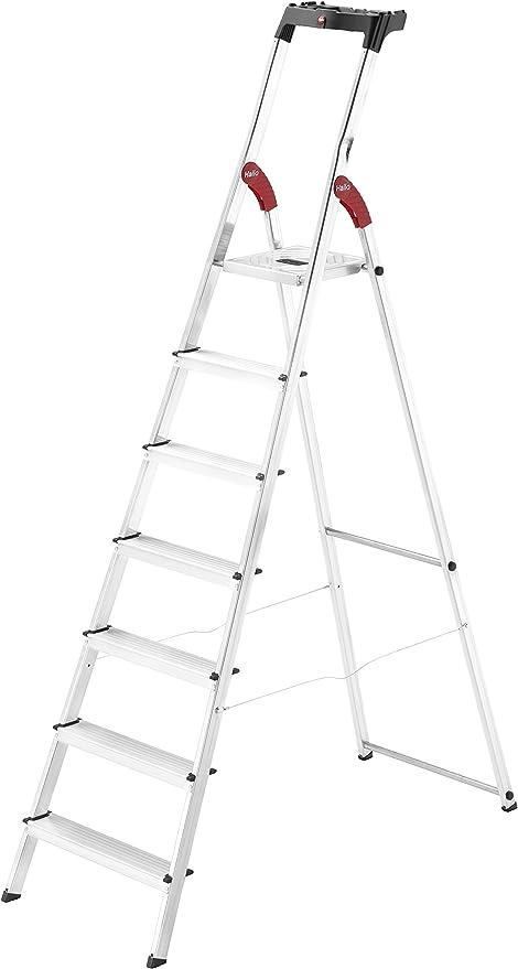 Hailo l60 easyclix - Escalera domestica l60 7 peldaños 212cm aluminio: Amazon.es: Bricolaje y herramientas