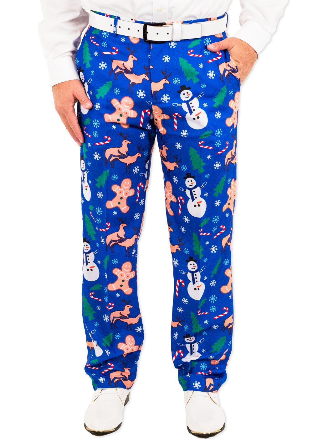 Festified Men's Holiday Naughty Christmas Suit Pants in Blue (30) by Festified