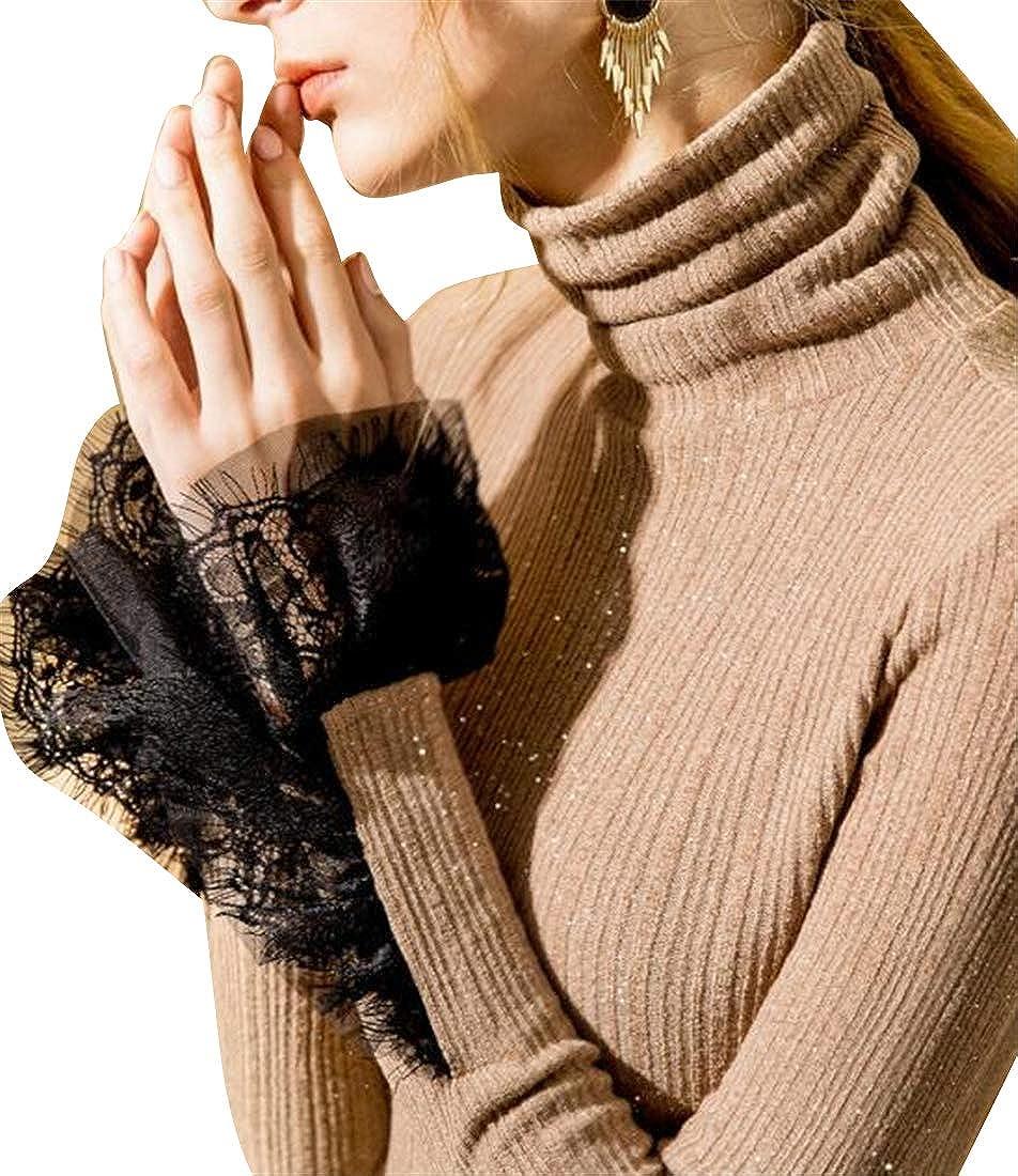 Fubotevic Womens Slim Long Sleeve Lace Stitching Trutleneck Basic Top Blouse T-Shirt