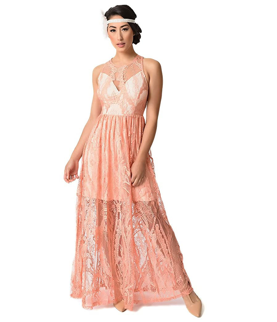 Amazon.com: 1920s Style Peach Pink Sleeveless Lace Long Flapper ...