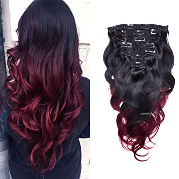Amazon Com Burgundy Ombre Hair Extensions Body Wave Clip In Human