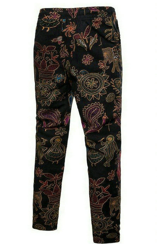 db93eb5221 Oberora-Men Vintage Elastic Waist Printed Straight Leg Linen Casual Pants  Trousers at Amazon Men s Clothing store