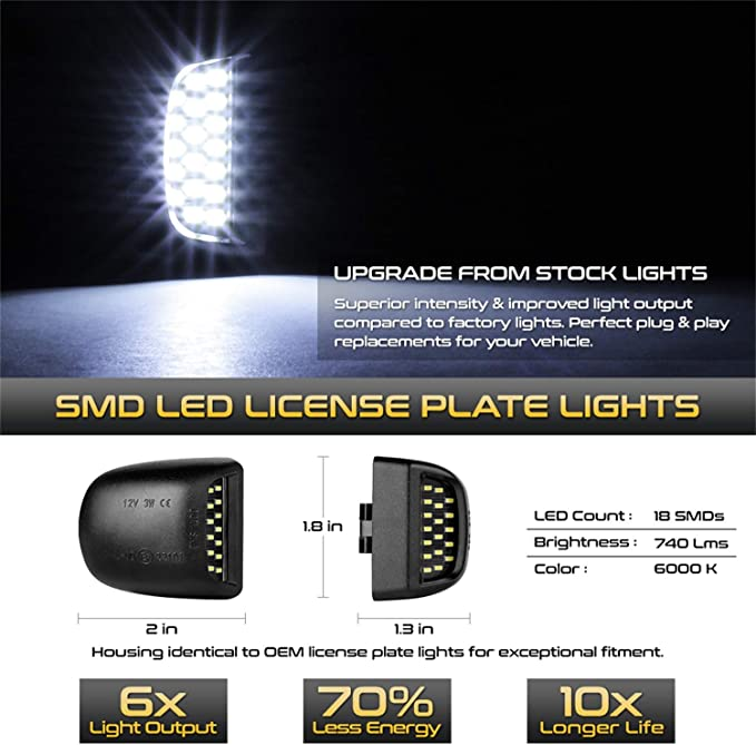 Spyder Auto 9045189 XTune License Plate Bulb Assembly Replacement Pair White 5500K OEM Style Connector w//Built In LED//Ultra Bright Plug//Play Installation XTune License Plate Bulb Assembly Replacement
