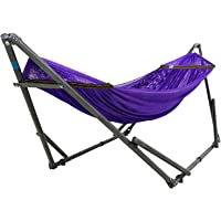 Tranquillo Adjustable Foldable Hammock Stand with Polyester Hammock Net and Carry Bag - Steel Purple