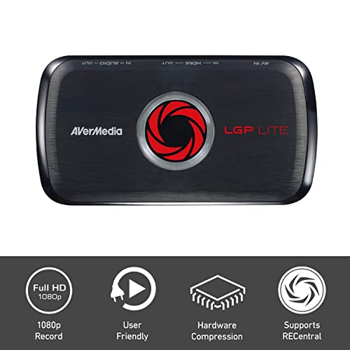 AVerMedia Live Gamer Portable Lite capturadora YouTube y Twitch HD 1080p latencia ultra baja USB streaming de juegos de juegos y captura de juegos para PS4 Nintendo Switch GL310