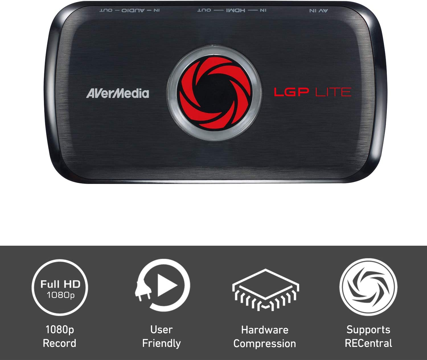 AVerMedia Live Gamer Portable Lite, capturadora, YouTube y Twitch, HD 1080p, codificador de hardware, streaming de juegos de juegos y captura de juegos para PS4, Nintendo Switch (GL310)