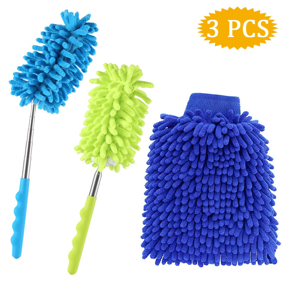 Extendable Cobweb Duster + Microfiber Wash Mitt for Home Office Car- SOSMAR Bendable Duster Dusting Brush with Extendable Pole, Duster Head Washable, 3 Set