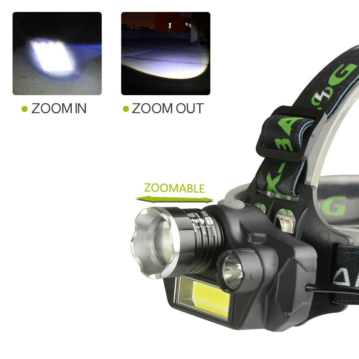 LED Headlamp Flashlight, USB Rechargeable LED Headlamp- Waterproof & Comfortable Headlight, Battery Powered Helmet Light, 8000 Lumen 4 Light 5 Modes Super Bright by KAILEDI. (Image #4)