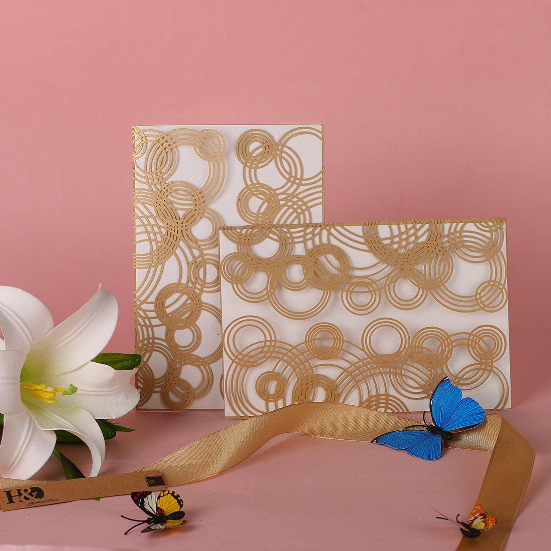 HONGJORA 60pcs White Laser Cut Wedding Invitations Cards Kit for Marriage Engagement Birthday Bridal Shower