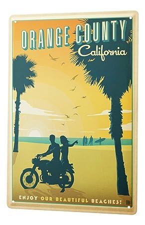 Blechschild Welt Reise Orange County California Wand Deko Schild 20X30 cm