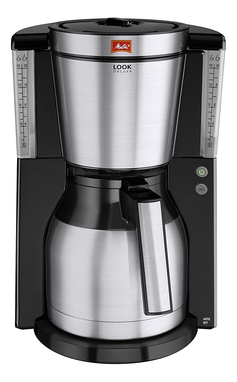 Aroma Selector 1011-14 Melitta Look IV Therm DeLuxe Black//Brushed Steel Filter Coffee Machine with Insulated Jug
