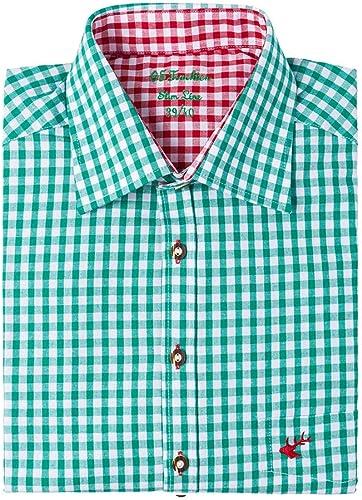 ORBIS 008548 - Camisa de manga larga para traje regional (corte entallado), diseño de cuadros, color rojo verde 46: Amazon.es: Ropa y accesorios