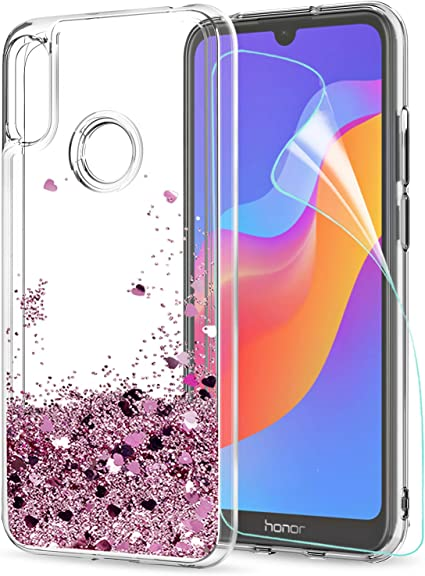 Argent Oihxse Coque pour Huawei Y6 Pro 2019//Y6 2019//Enjoy 9E//Honor 8A Cover Clear View Flip Translucide Standing 360/°Protection Ultra Mince Cuir PU Etui Anti-Rayures Antichoc Housse Bumper
