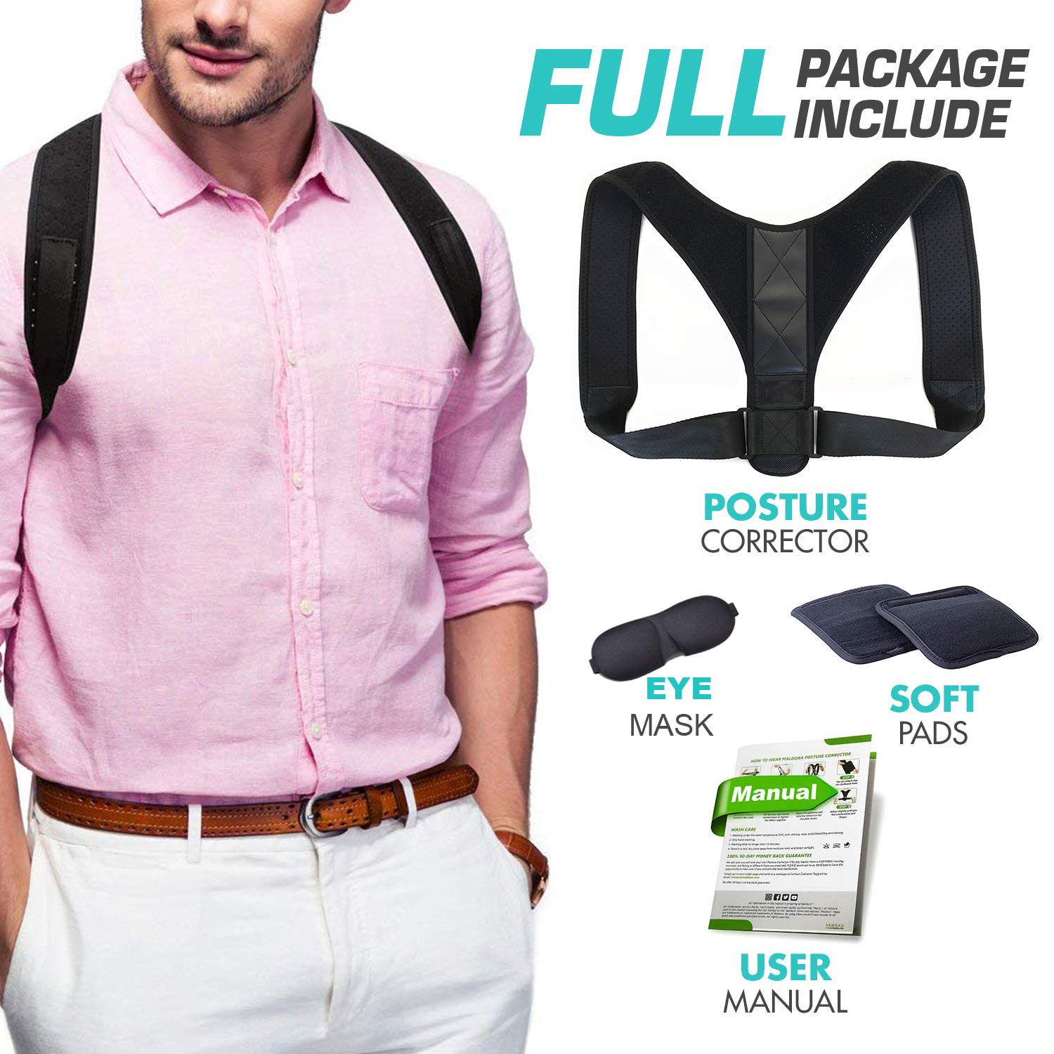 Posture Corrector for Women and Men - FDA Approved Adjustable Upper Back Brace for Clavicle Support and Pain Relief from Neck, Back & Shoulder - Correct Slouching, Hunching & Bad Posture