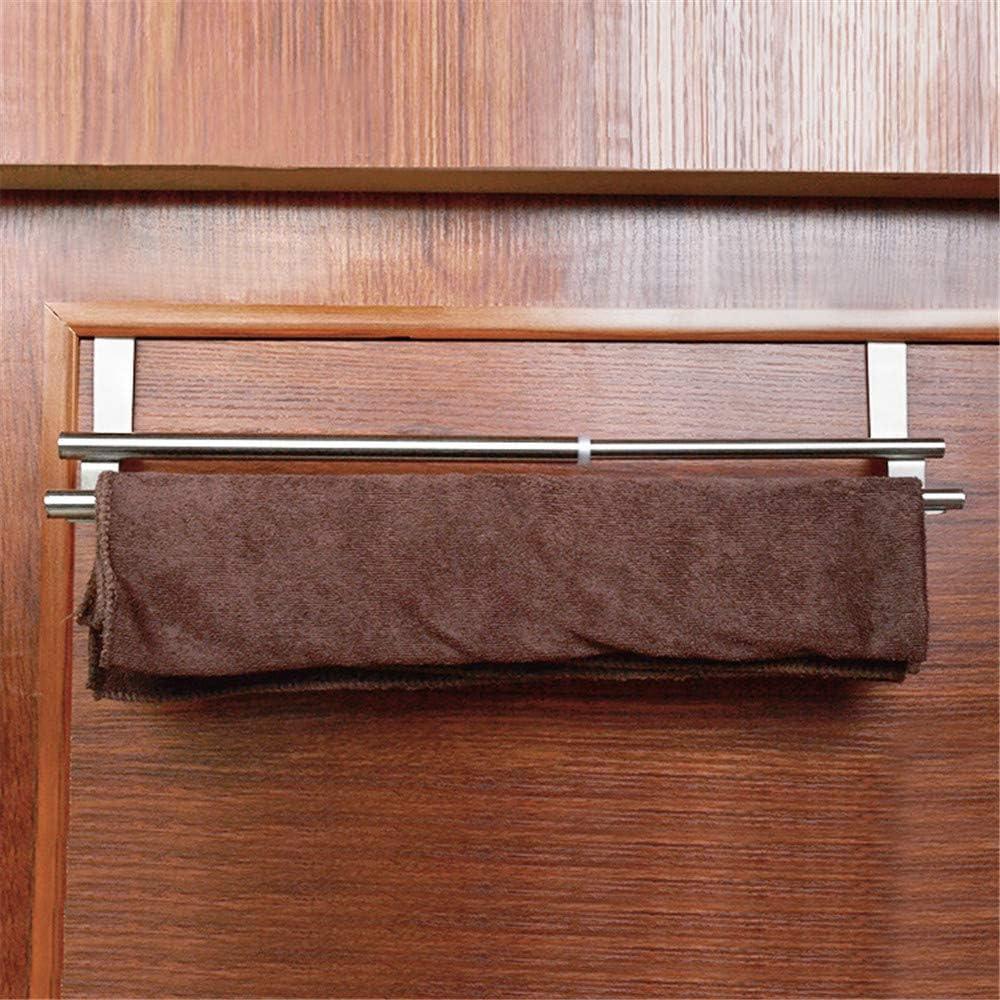 """XGao Telescopic/Door Back Towel Bar 8.4/""""-13.3/""""Over The Door Towel Rack Heavy Duty Stainless Steel Door Hanger for Coats Garbage Rag Kitchen Cabinet Hanging Organizer Easy Install for Bathroom"""