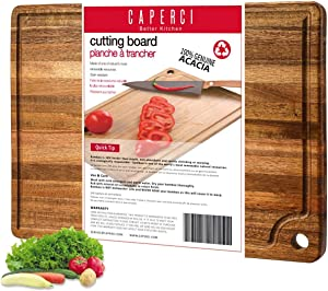 Large Acacia Wood Cutting Board for Kitchen - Caperci Better Chopping Board with Juice Groove & Handle Hole for Meat (Butcher Block) Vegetables and Cheese, 18 x 12 Inch