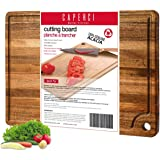 Large Acacia Wood Cutting Board for Kitchen - Caperci Better Chopping Board with Juice Groove & Handle Hole for Meat (Butcher