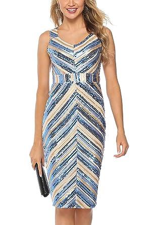 0ab4daac964dd Galis Womens Casual Sexy Glittery Sequins Stripes Spaghetti Strap  Sleeveless Deep V-Neck OL Pencil