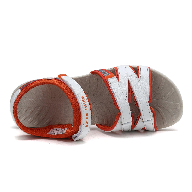 DREAM PAIRS Women's 160912-W Adventurous Summer Outdoor Sandals B0788WTP52 10 M US|White/Orange