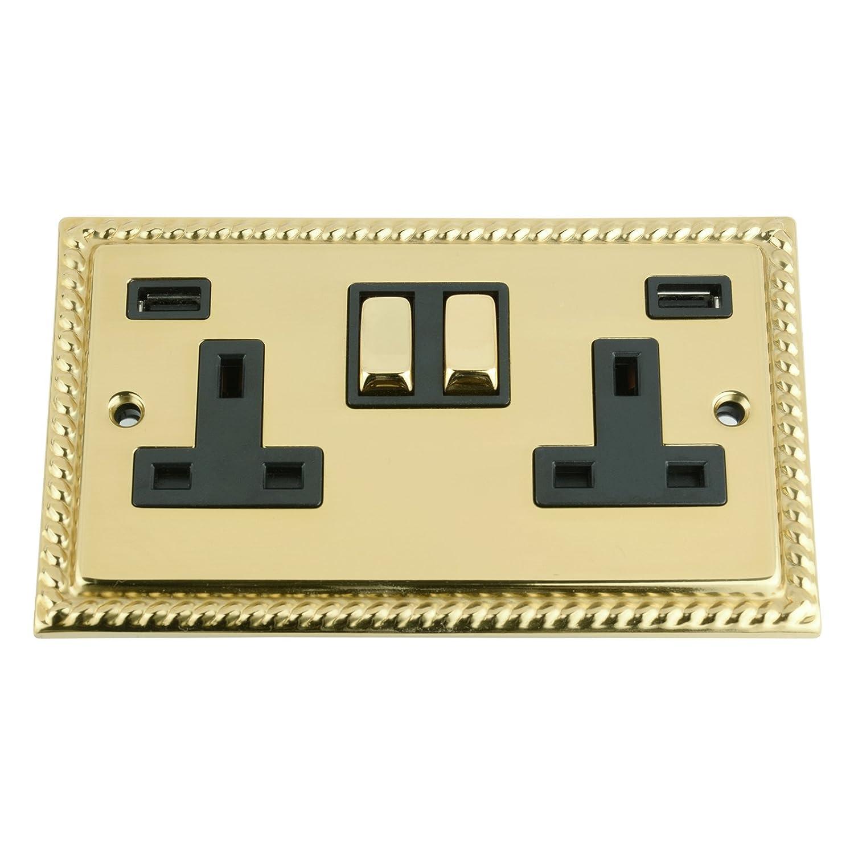 Polished Brass Flat Metal Rocker Switch 2 Gang 2 Way 10 Amp A5 Double Light Switch 2 Gang Black