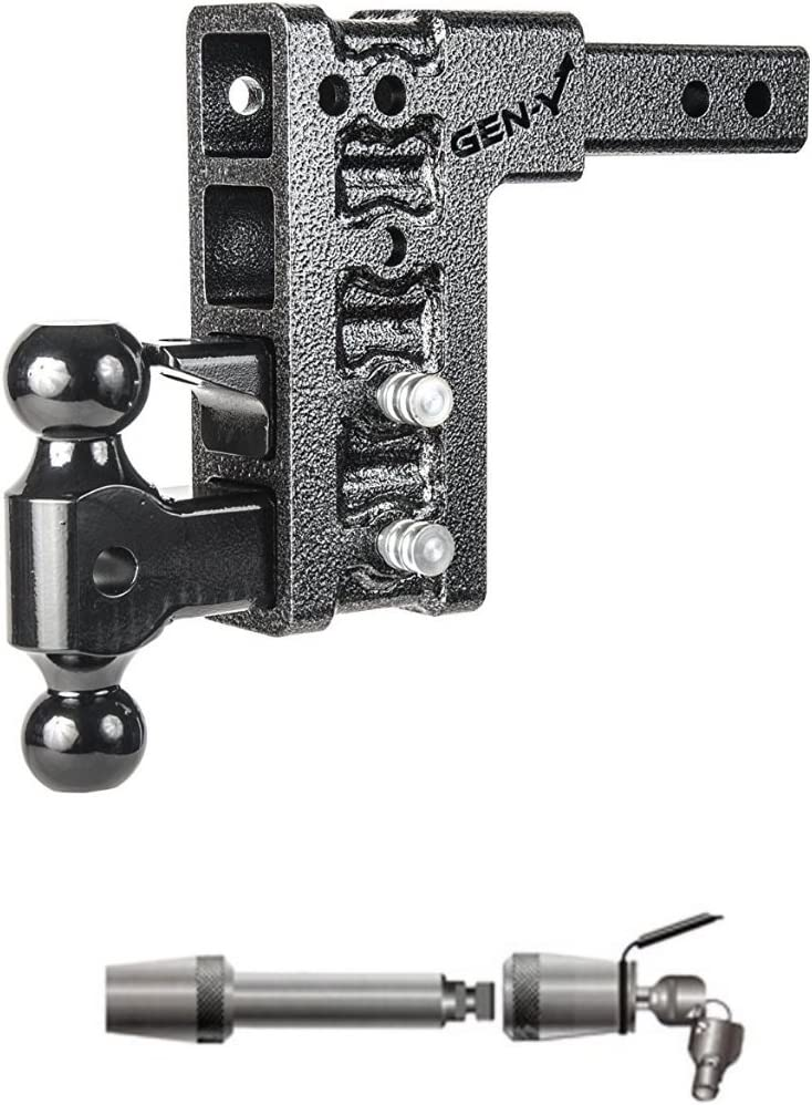 GEN-Y Hitch GH-624 Class V 2.5 Receiver 9 Drop Hitch 21K Towing w//Premium 5//8 Extended Receiver Lock Bundle