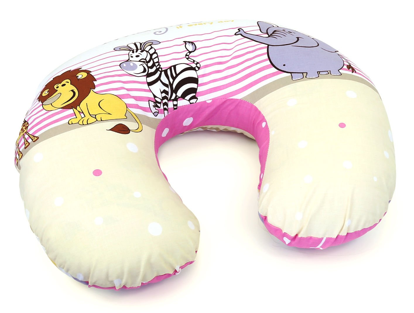 BABY BREAST FEEDING PILLOW NURSING MATERNITY PREGNANCY Teddy ladder pink REMOVABLE COTTON COVER