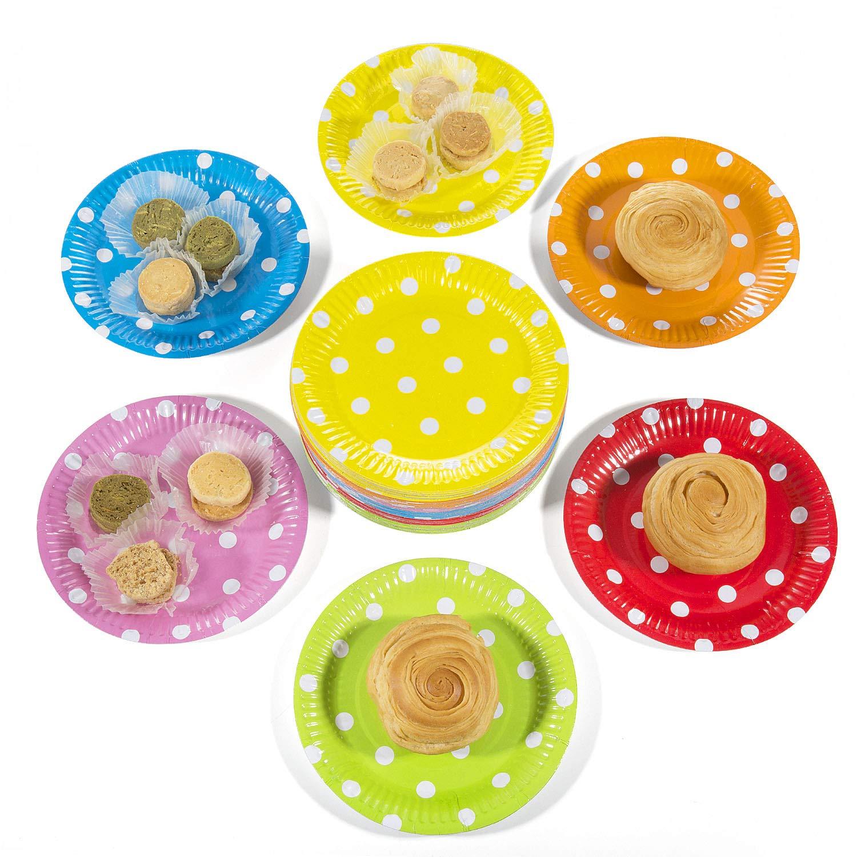 60 PCS 7 Inches // 18cm Piatti di Carta Monouso per Partito A Rosa + Arancio + Verde Comius Piatti Carta Festa