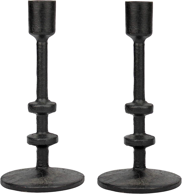 Set of 2 Stonebriar 7 Black Cast Iron Metal Taper Candle Holder Set