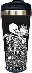 Waldeal The Kissing Lovers Skull Travel Coffee Mug with Flip Lid, Day of The Dead Stainless Steel Valentine's Day Cup for Men Women 15 OZ