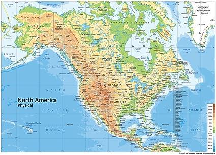 America Settentrionale Cartina Geografica Politica.Cartina Fisica Dell America Del Nord Carta Plastificata Misura A0 84 1 X 118 9 Cm Lingua Italiana Non Garantita Amazon It Cancelleria E Prodotti Per Ufficio