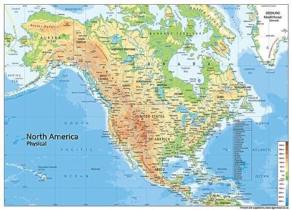 America Settentrionale Cartina.Cartina Fisica Dell America Del Nord Carta Plastificata