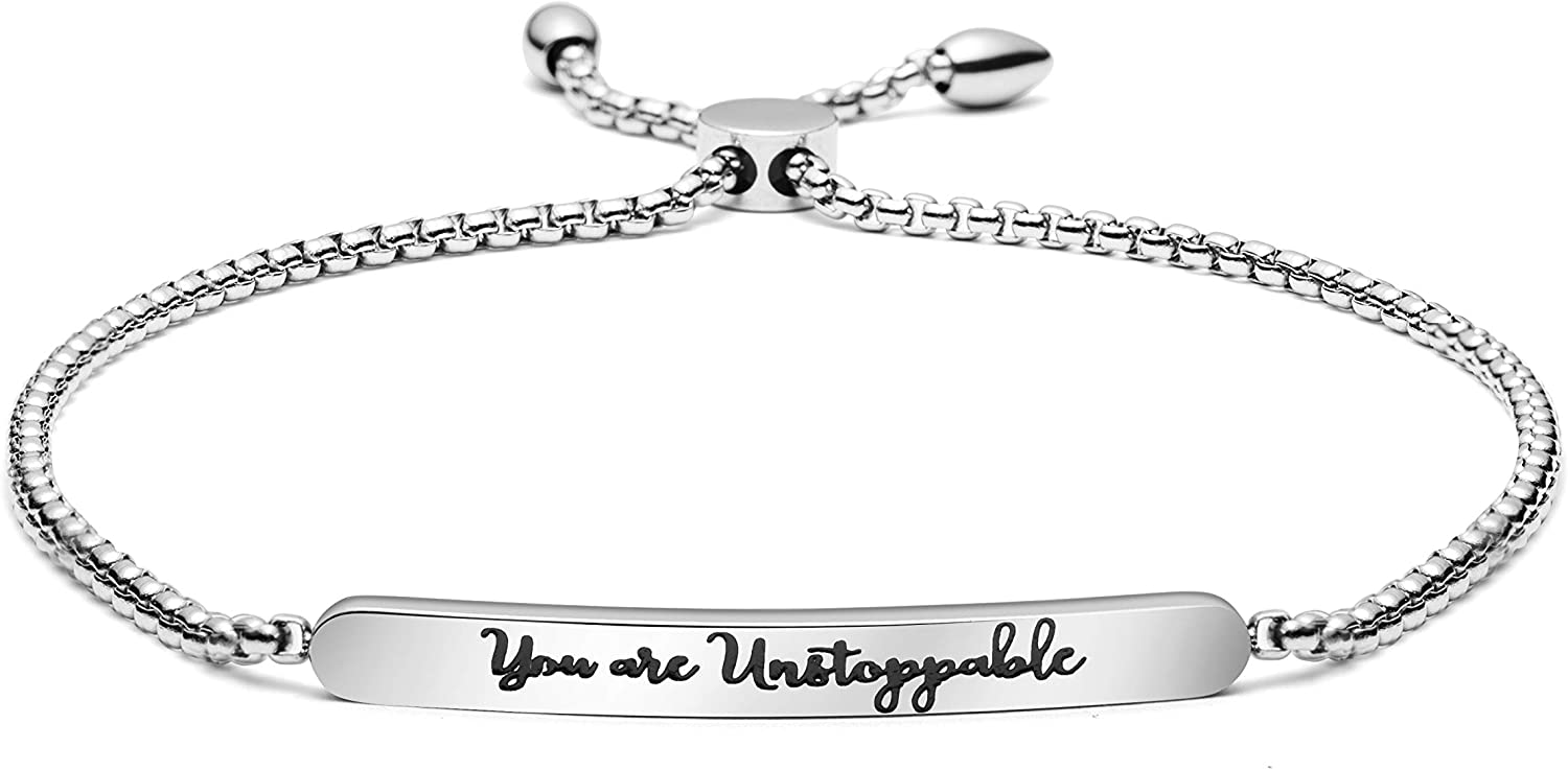Joycuff You are Unstoppable Bracelet Adjustable Chain Link Bar Bangle Personalized Feminist Encouragement Motivational Inspirational Gift Girlfriend