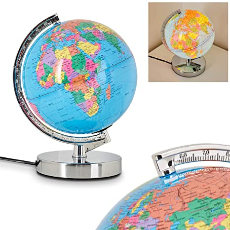 Illuminated World Globe in Metal, Chrome and Plastic Table