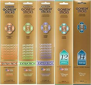 Gonesh Incense Extra Rich Collection Variety Pack, 5 Packs, 20 Sticks Each (Sandalwood, Jasmine, Lavender, Number 12, Number 14)