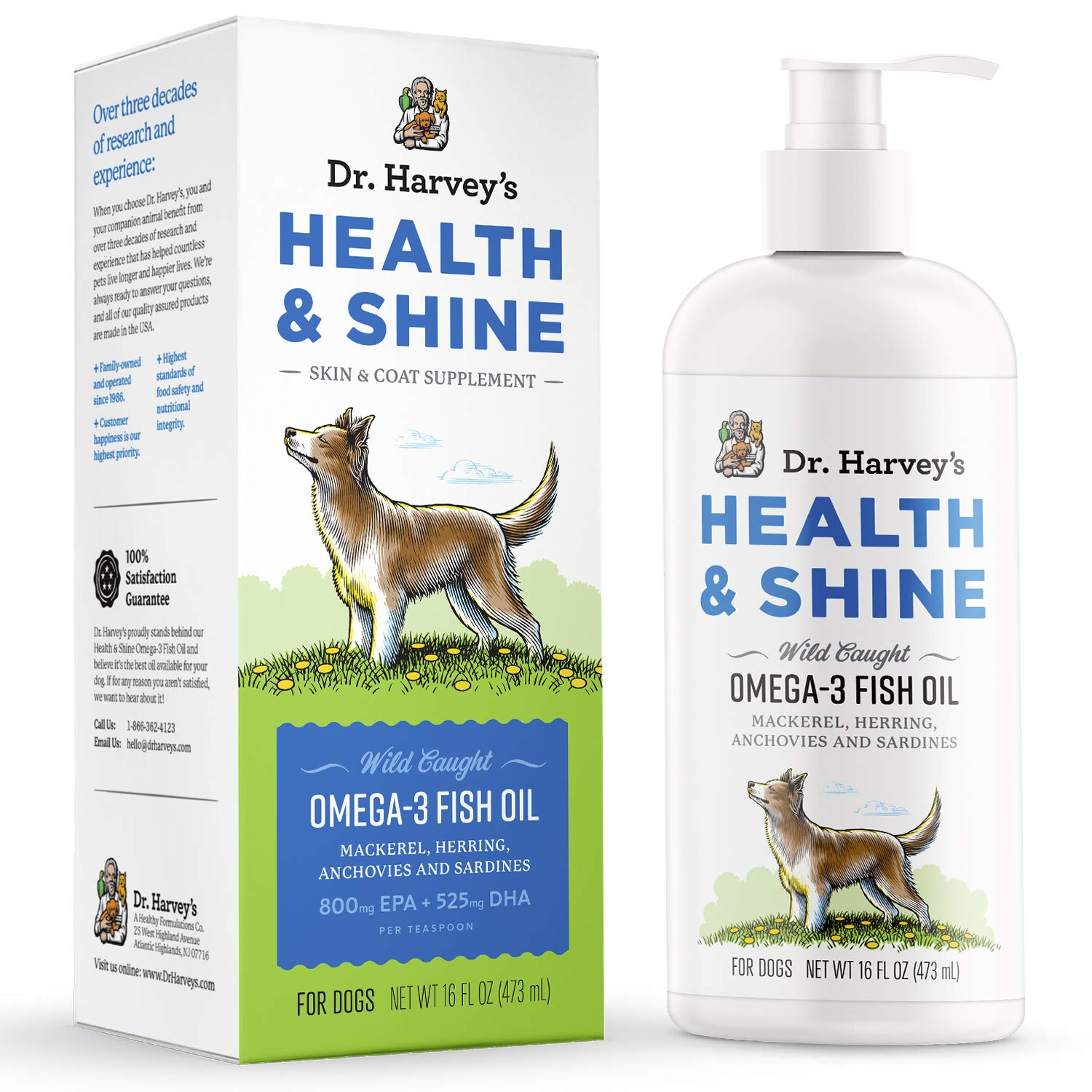 Dr. Harvey's Health & Shine Omega-3 Fish Oil Supplement for Dogs from Wild Caught Mackerel, Herring, Anchovies and Sardines - Supports Beautiful Fur, Strong Joints and Itchy Allergy Relief (16 FL OZ) by Dr. Harvey's