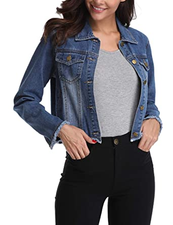 5816011a097 MISS MOLY Retro Denim Jackets for Women Long Sleeve Button up Frayed Stretch  Jean Washed Crop Coat Outwear at Amazon Women s Coats Shop