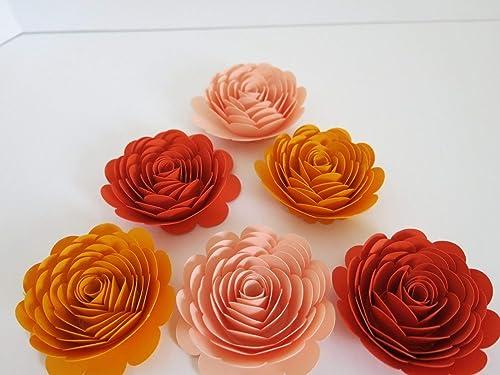 Amazon Com Shades Of Orange Paper Flowers Set Of 6 3 Inch