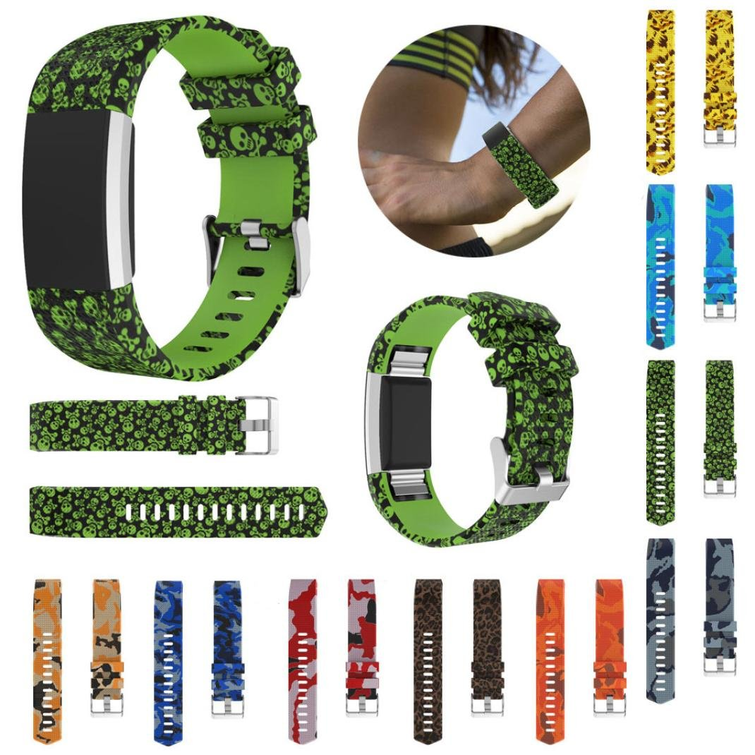 For Fitbit Charge 9 Fitbit 2交換用バンド、スポーツシリコンWristbands手首ストラップスカルLeopard Charge Military印刷時計アクセサリー B0795DM49Q 9 PACK, ROPE PICNIC/ロペピクニック:b2ea0883 --- acee.org.ar