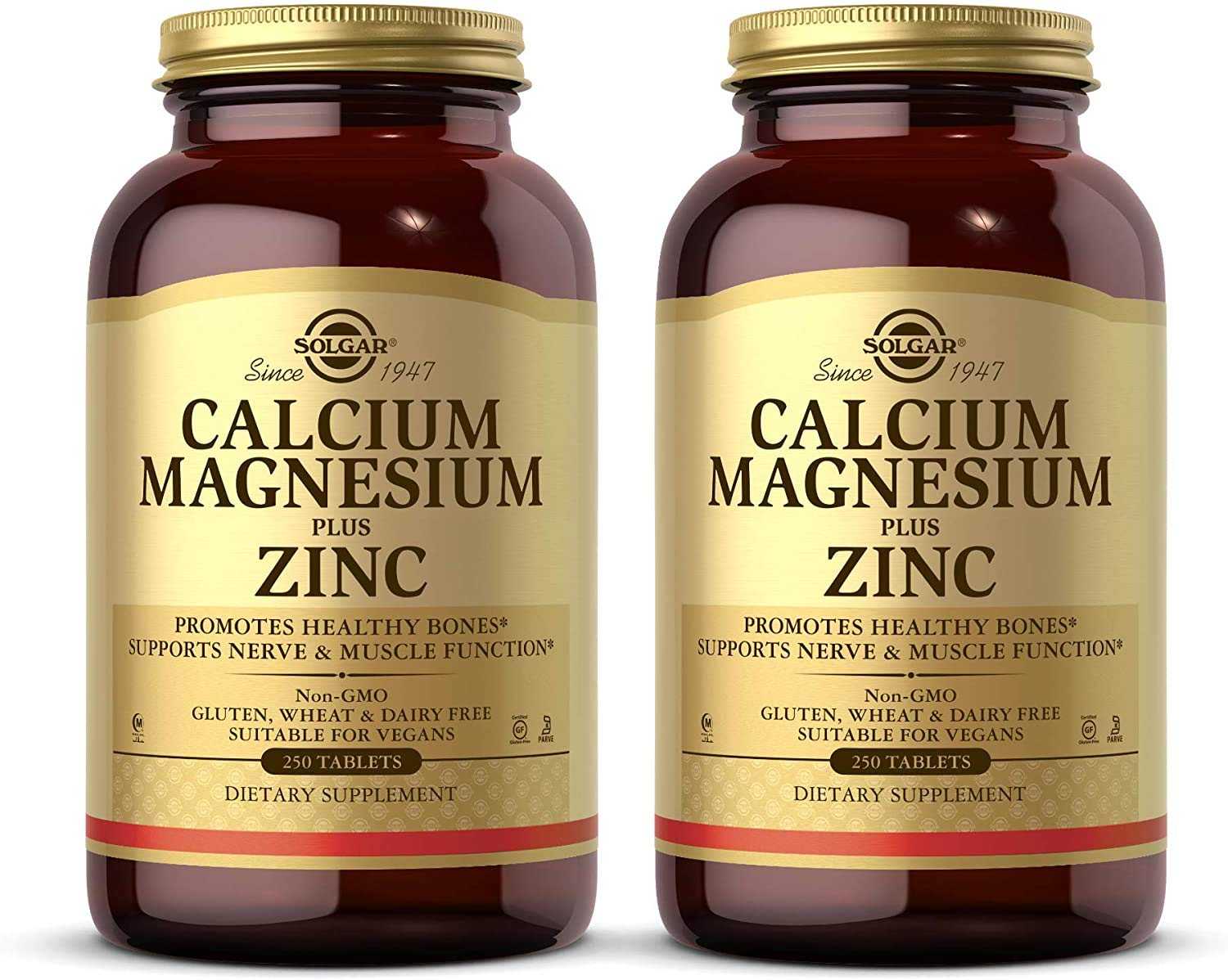 Solgar Calcium Magnesium Plus Zinc, 250 Tablets - Pack of 2 - Promotes Bone & Muscle Health - Collagen Synthesis - Non-GMO, Vegan, Gluten Free, Dairy Free, Kosher, Halal - 166 Total Servings